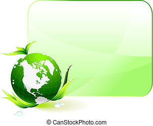 Globe on Green Environmental Conservation Background