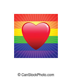 heart on glowing Gay Pride background
