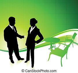businessman and businesswoman Green Environmental...