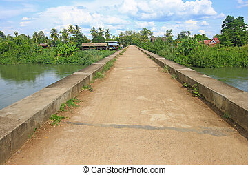 The French railway concrete bridge in southern Laos - The...