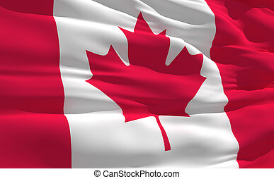 Waving flag of Canada - Fluttering flag of Canada on the...