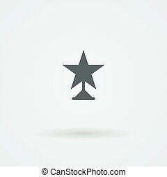 Vector icon of winner star statuette. Logo. Monoicon.