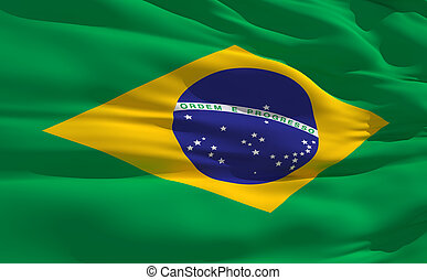Waving flag of Brazil - Fluttering flag of Brazil on the...