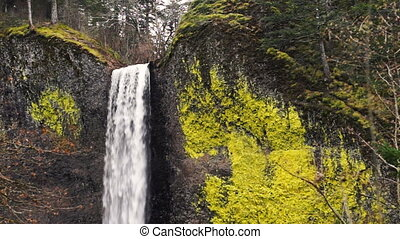 Columbia Gorge Waterfall Oregon - A solid beam flow of water...