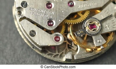 Vintage Watch Pocketwatch Time Piece Movement Gears Cogs -...