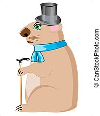 Woodchuck in hat with walking stick - Cartoon of the...