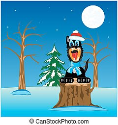 Wildlife wolf in wood - Cartoon of the wolf in winter in...