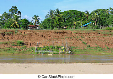 Vegetable garden area in bamboo fence along the Mekong river bank in Laos