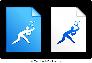Badminton on Paper Set Original Vector Illustration AI 8...