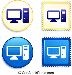 Computer Desktop Button and Stamp