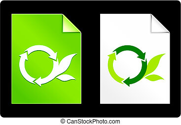 Round Recycle Symbol on Paper Set