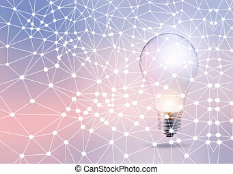 Abstract light bulb with dot and line network on a pastel...