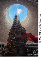 Huge Power plant producing heat - Huge and modern Power...
