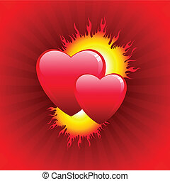 Flame of love Valentine\'s Day background
