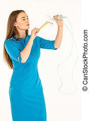 Air hostess in blue uniform.
