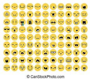 Great set of 99 yellow emotion isolated on white Emoji -...
