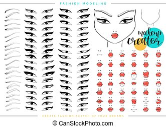 Makeup creator. Set for fashion modeling female faces. Face chart