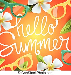 Hello summer background with tropical flowers and...
