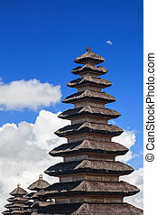 Traditional Balinese pagoda Meru in famous religious complex...