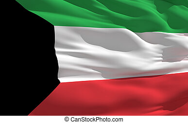 Waving flag of Kuwait - Fluttering flag of Kuwait on the...