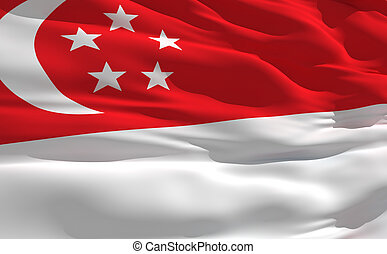 Waving flag of Singapour - Fluttering flag of Singapour on...