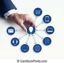 Hands holding icon customer network connection, Omni Channel...