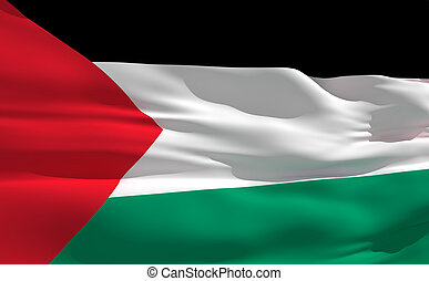 Waving flag of Palestine - Fluttering flag of Palestine on...