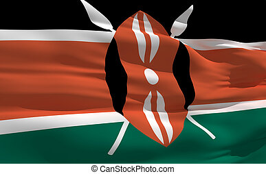 Waving flag of Kenya