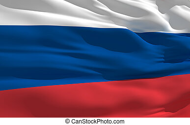 Waving flag of Russia - Fluttering flag of Russia on the...