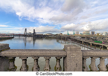 Northeast Portland Skyline and Steel Bridge View - Northeast...