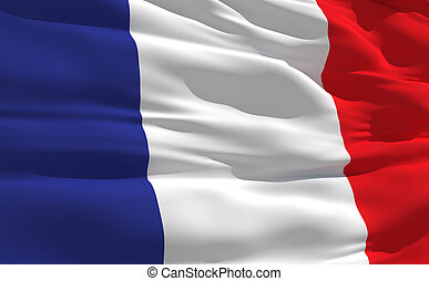 Waving flag of France - Fluttering flag of France on the...
