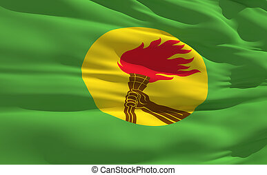 Waving flag of Zaire - Fluttering flag of Zaire on the wind