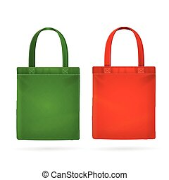 Color Fabric Cloth Bag Tote Vector illustration