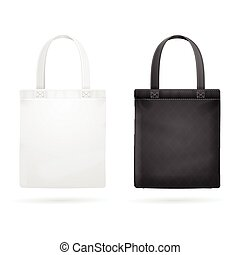 White and Black Fabric Cloth Bag Tote Vector illustration