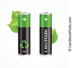 Recycled Battery Eco Concept. Vector