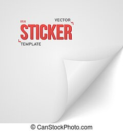 White Vector Paper Sticker. Bended Page Sticker Vector EPS10 Tem