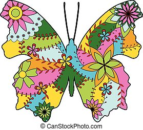 Butterfly silhouette colorful - Vector butterfly silhouette...