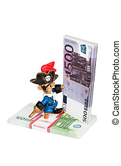 software piracy - pirat toy with bundle of money and cd...