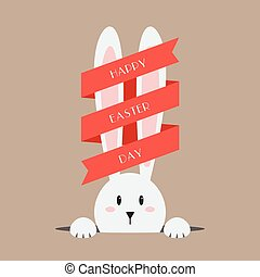 White easter rabbit with red ribbon