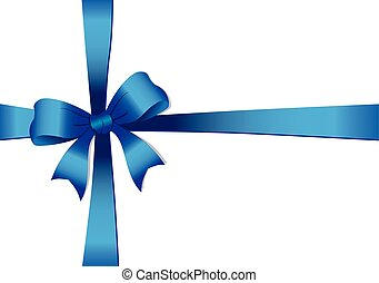 Blue bow ribbon - Vector illustration of a Blue bow isolated...