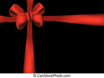 Red bow ribbon - Vector illustration of a Red bow on a black...