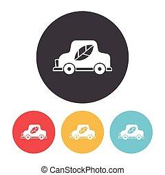 Environmental protection concept green car icon
