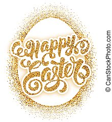 Easter Greeting Card Design - Happy Easter Calligraphic...