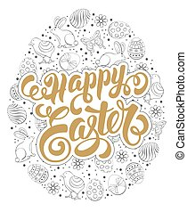 Easter Greeting Design - Happy Easter Calligraphic Lettering...