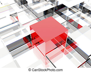 Red cube - 3d image of one red cube against other cubes,...
