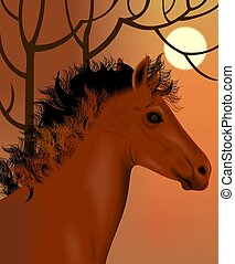 Horse and nature	 - Digital image of a horse.