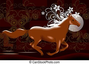 Floral horse - Digital image of a running horse.