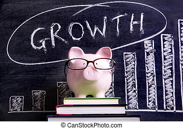 Piggy Bank with growth chart