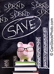 Piggy Bank with savings chart