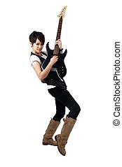 Punk Rockstar playing guitar isolated in white